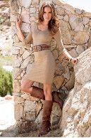 Knit dress + belt + boots