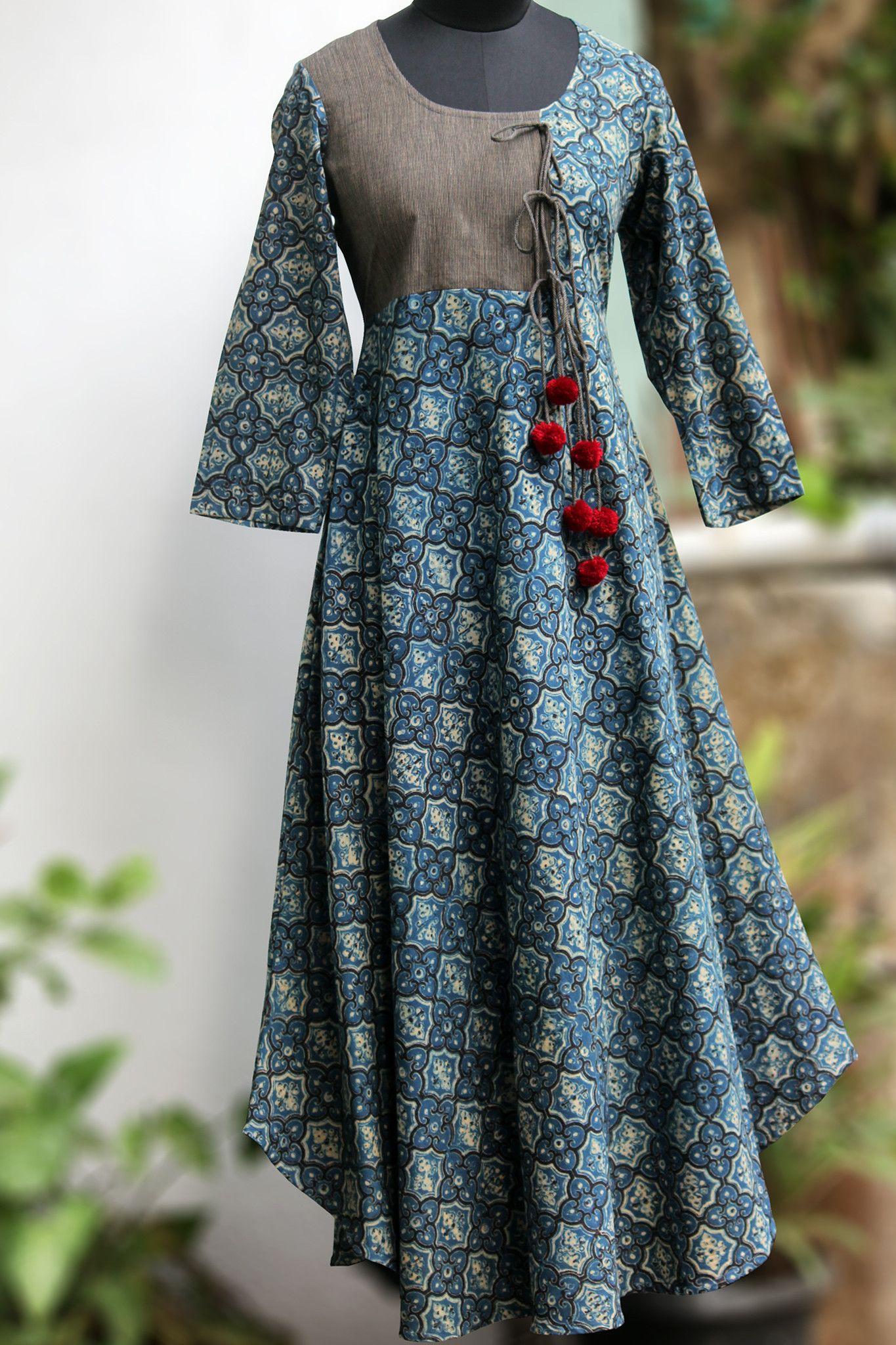 2b75e26727d Maati Crafts Blue Cotton Printed Anghrakha Kurti