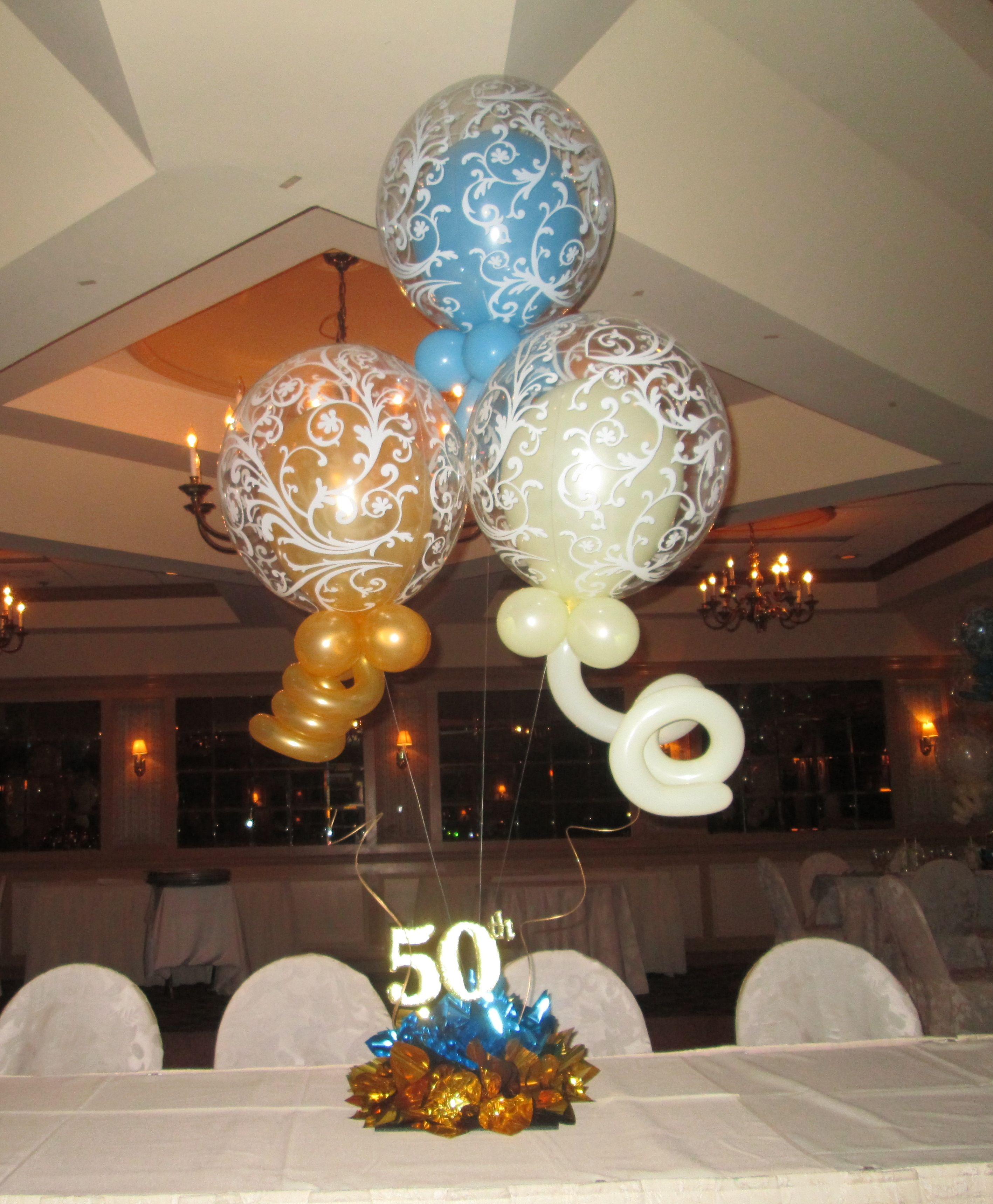 This centerpiece was made for a 50th wedding anniversary
