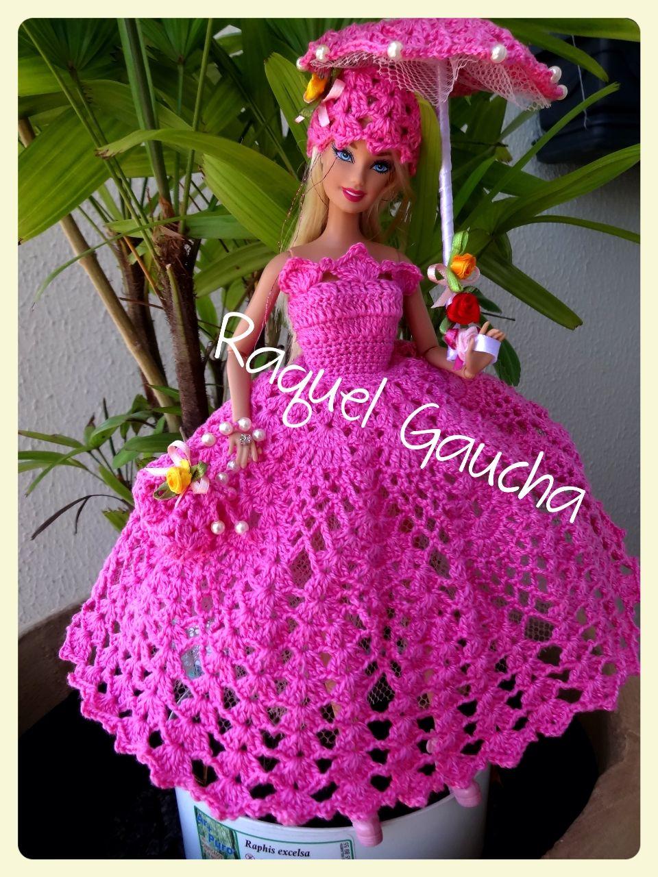 Dress #Vestido #Crochet #Barbie #Doll #Bolsa #Purse #Umbrella ...