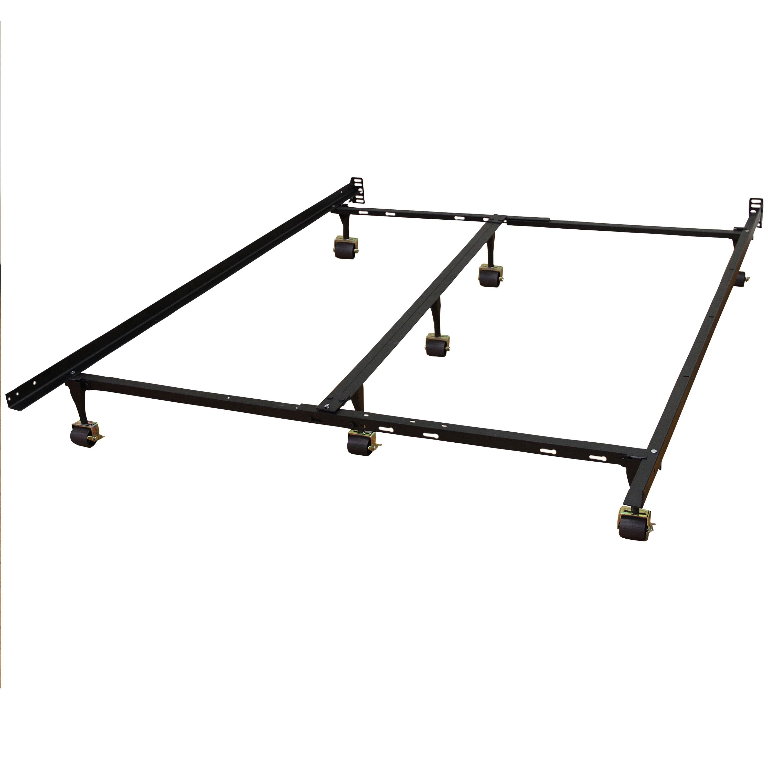 Size Adjustable Steel Bed Frame With Casters Wheels Heavy Duty Twin Full Queen