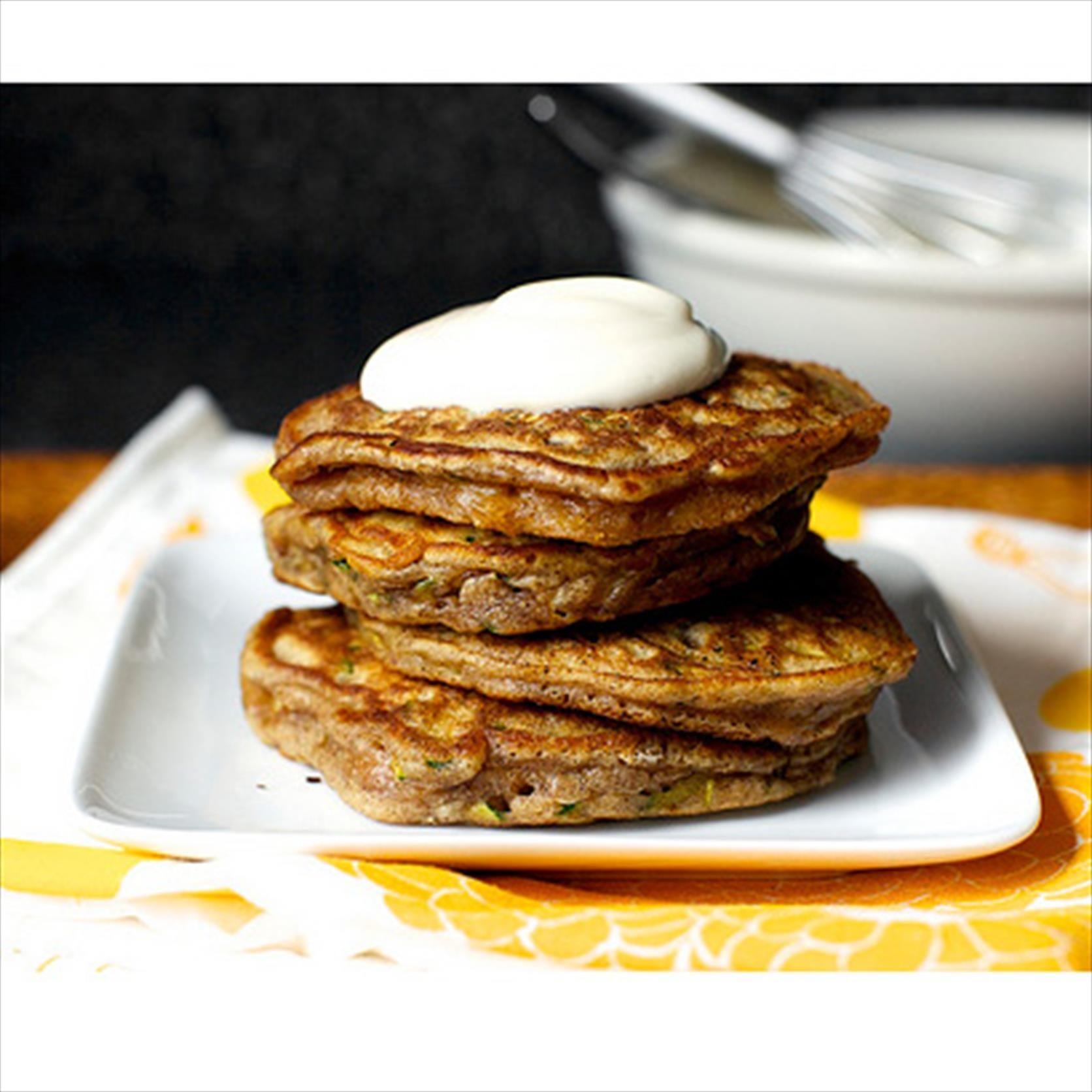 Zucchini Bread Pancakes - Smitten Kitchen #pancakeday