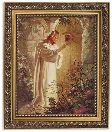 Jesus knocking on door print in ornate gold frame by warner sallman jesus knocking on door print in ornate gold frame by warner sallman altavistaventures Gallery