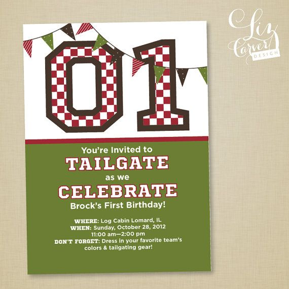 Tailgating Kids First Birthday Party Invitation Bdw Tailgate