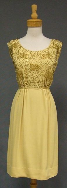 Maize Crepe 1960's Cocktail Dress w/ Dangling Beads