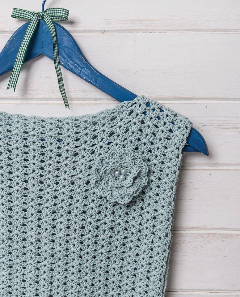 Ice blue simple crochet lace top vest crochet pattern by Liz Ward by ...