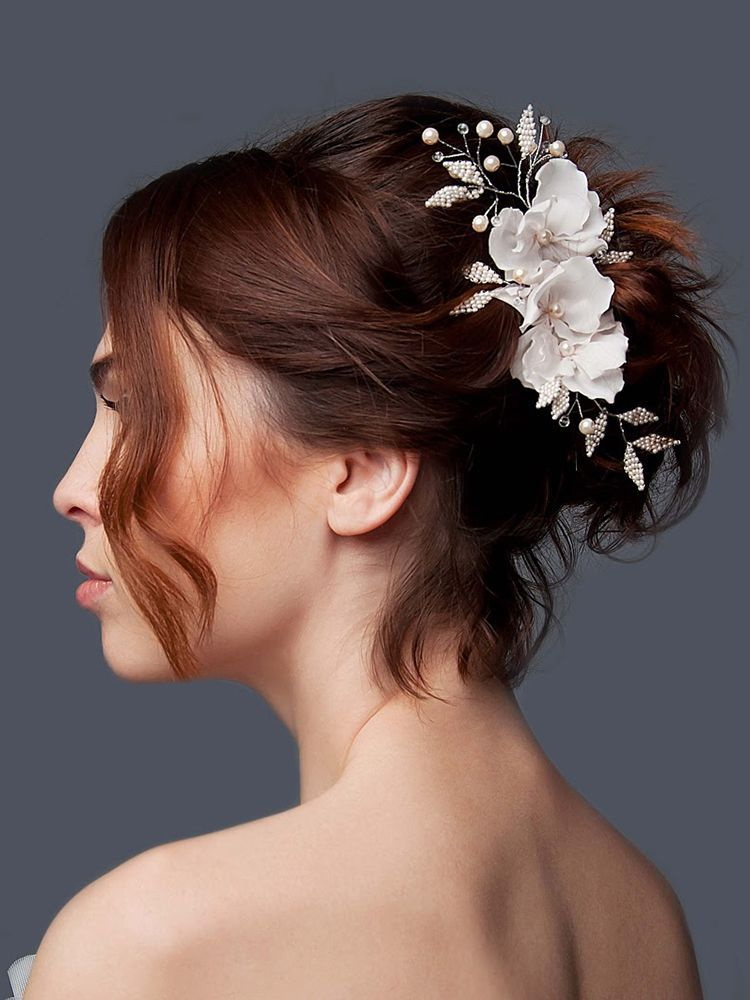 Bridal flower hair vine with artificial pearls 0d461e687344
