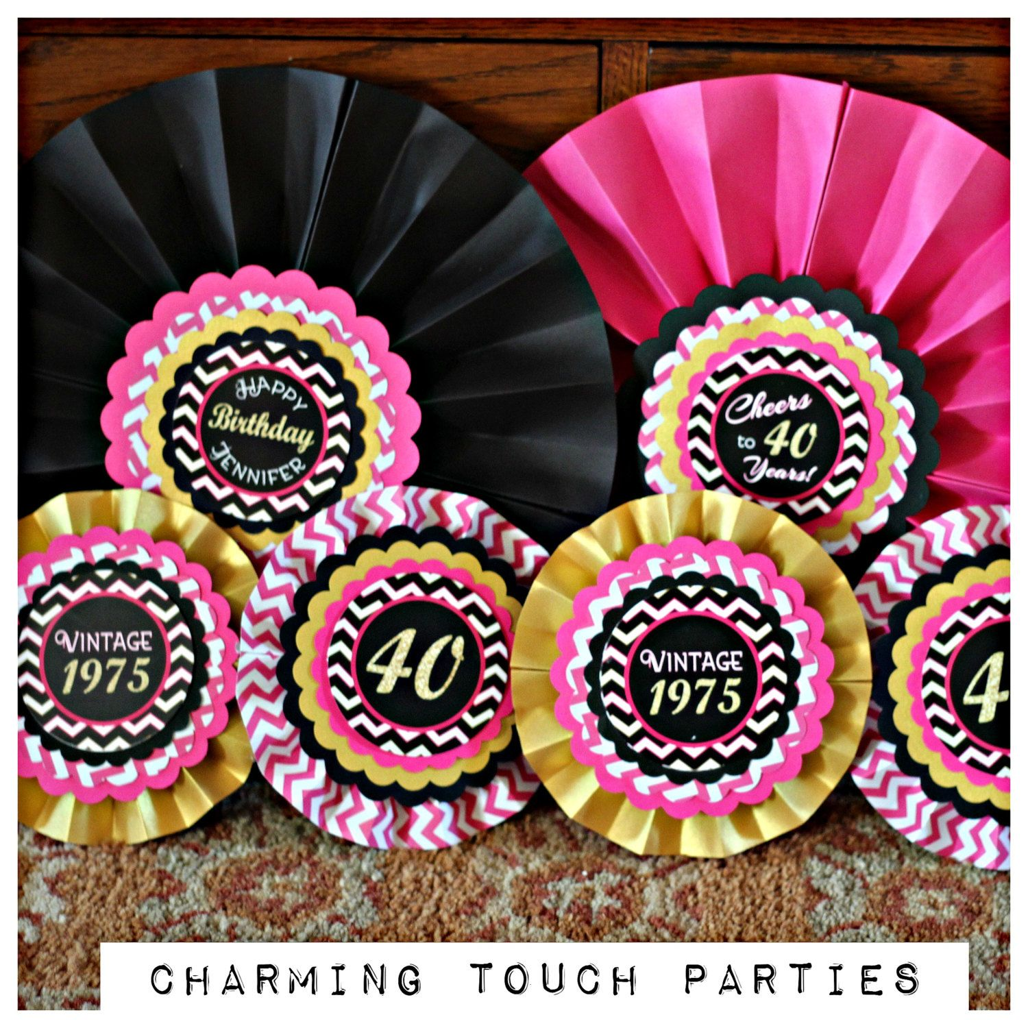30th 40th 50th 60th Pink And Gold Glitter Decorative Rosettes By Charming Touch Parties Pack Of 6 Fully Assembled