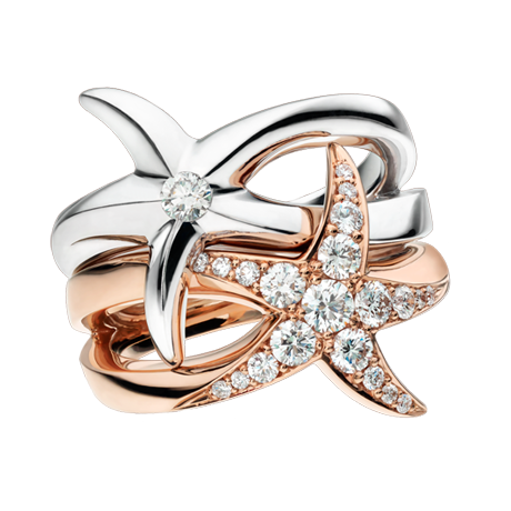 Beach Rocks Interlocking Star Fish Rings with Pave and Single Diamond in White and Red Gold