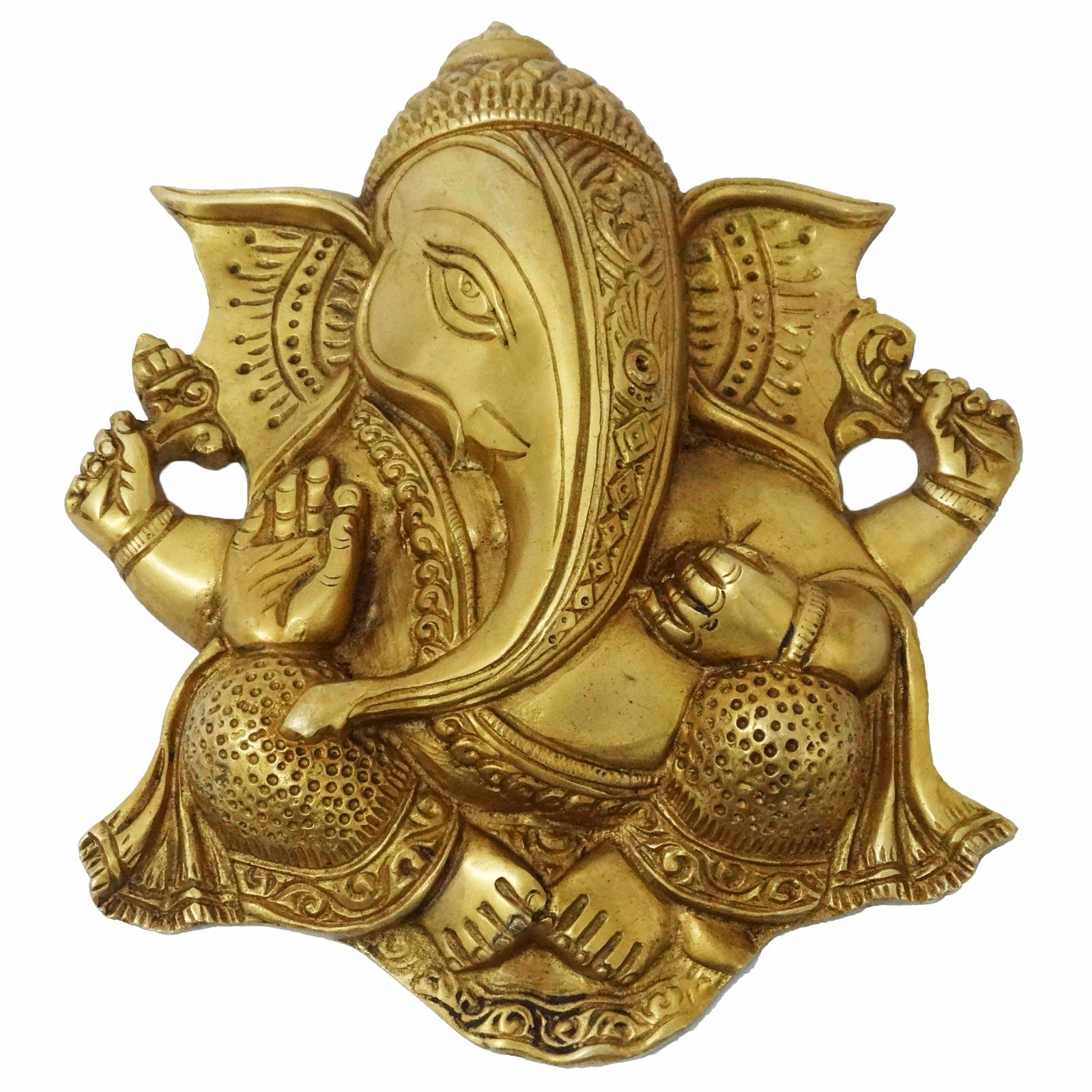 Lord Ganesha Brass Wall Hanging Hand Craved Metal Home Decor Indian ...