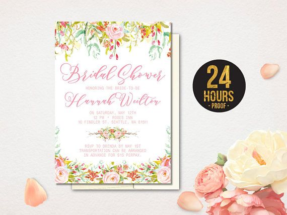 Romantic bridal shower invitation blush flowers bridal romantic bridal shower invitation blush flowers bridal filmwisefo Choice Image