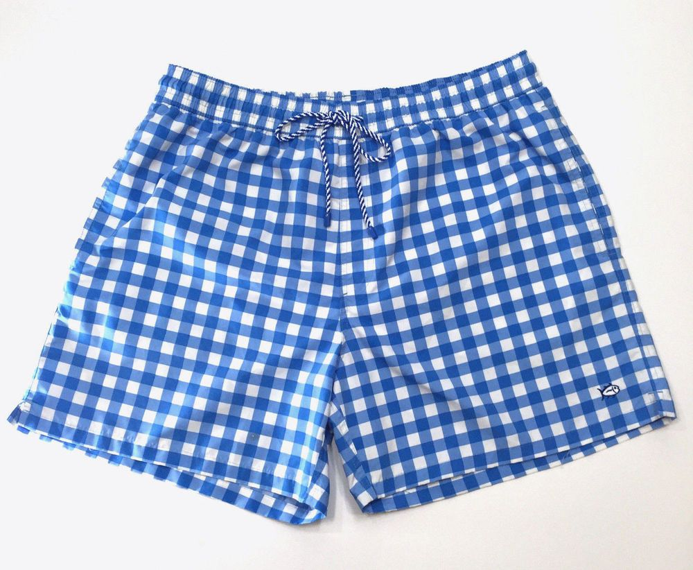 6e42dcb242 Southern Tide XXL Swim Trunk Suit Gingham Blue White Checked Skipjack Flaw  #SouthenTide #Trunks