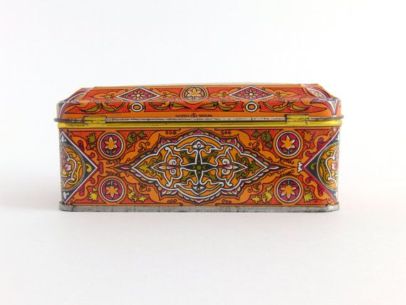 Vintage Decorative Tin Box Oriental Arabesque Orange Red