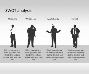 swot powerpoint template with human silhouette is a free swot, Modern powerpoint