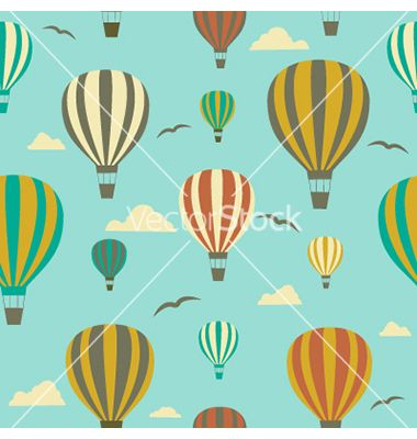 Seamless background with hot air balloons vector - by ladoga on VectorStock®