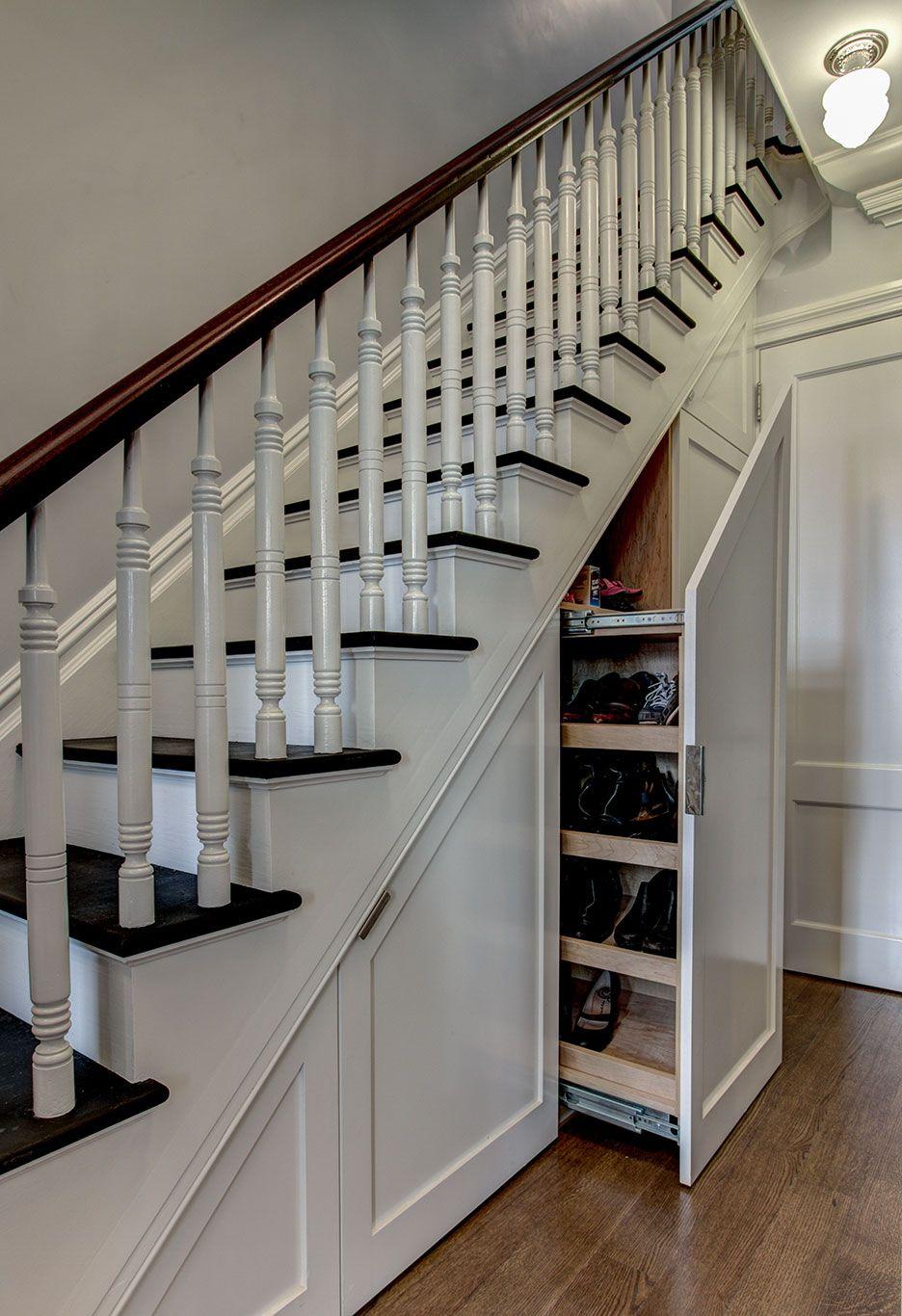 Shoe Storage Under Stairway In Brooklyn Townhouse Renovation Ben