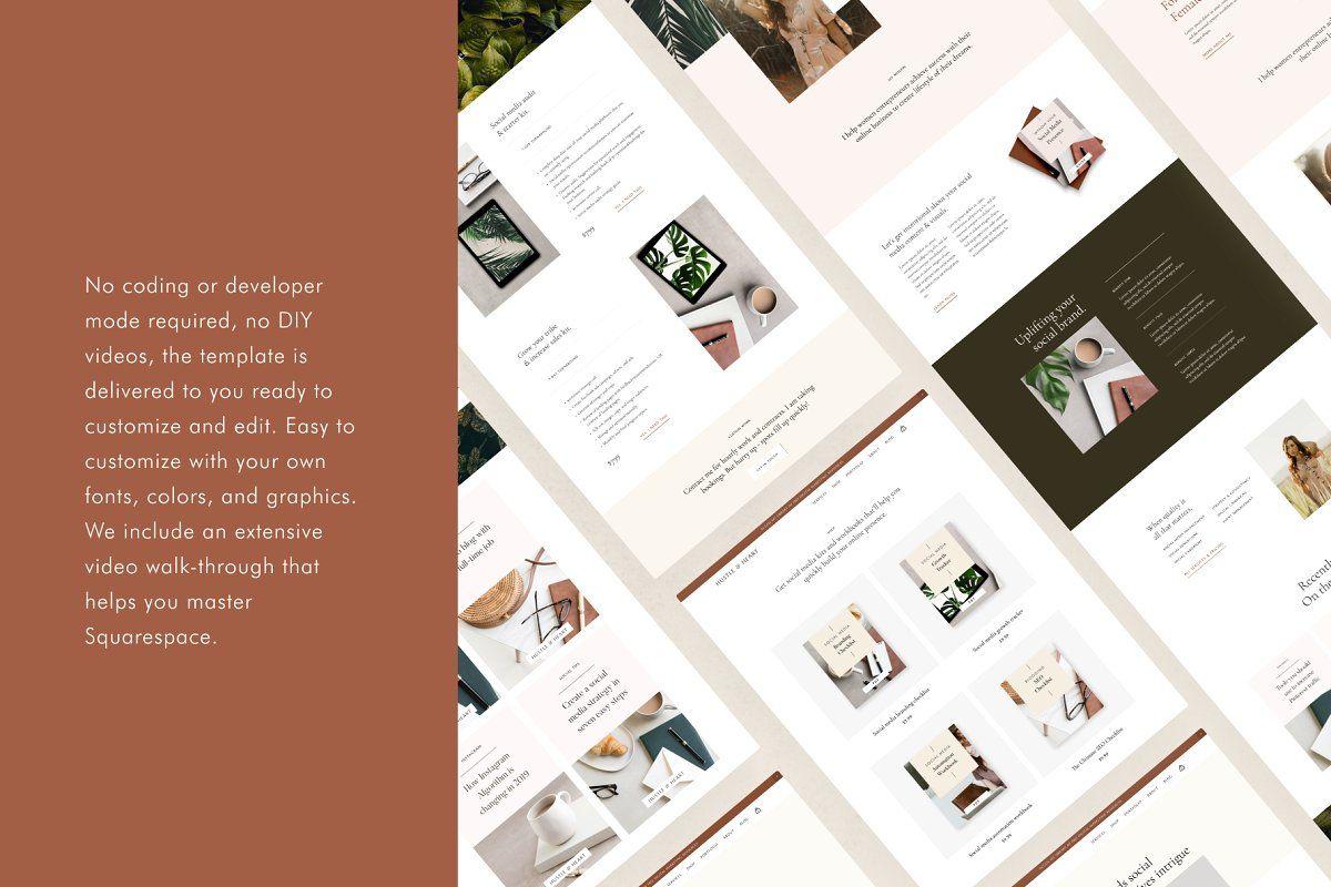 Squarespace Template Hustle Heart In 2020 Squarespace Templates Portfolio Web Design Professional Website Design
