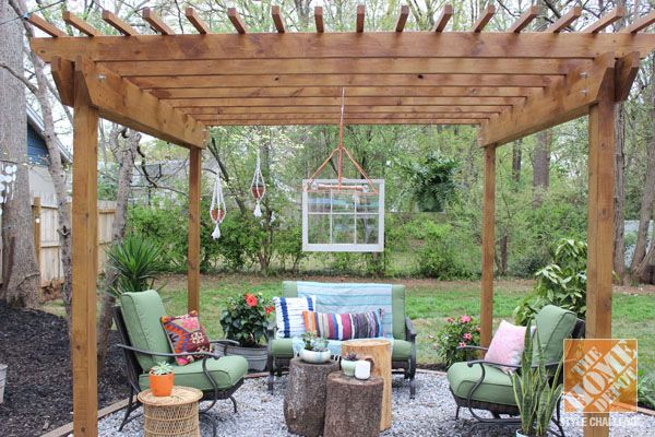 Backyard Makeover Pergola With Bohemian Style The Home Depot Outdoor Rooms Backyard Makeover Patio Style Challenge