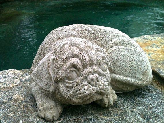 Concrete Pug Statue, Dog Statues, Garden Statues, Concrete