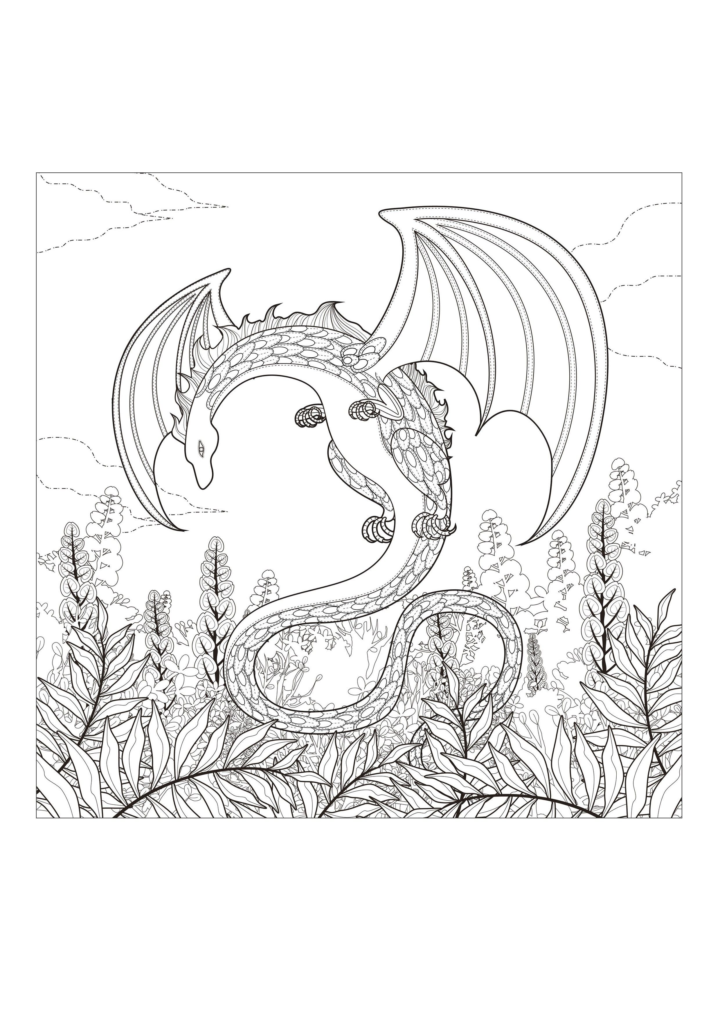 Dragon Coloring Pages for Adults | Monster coloring pages ...