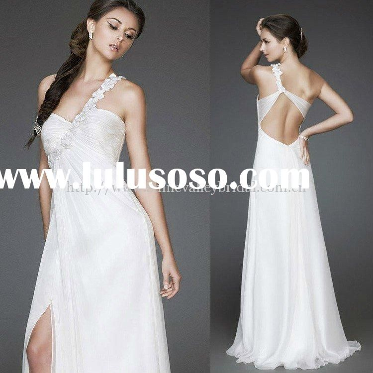Long Elegant Vintage Bridesmaid Dresses With Slit Up Leg Beach