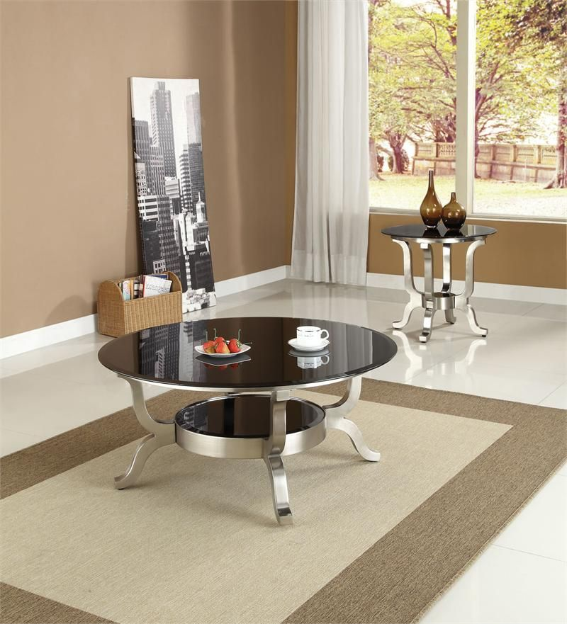 Best Arin Round Black Glass Satin Coffee Table Coffee Table 400 x 300