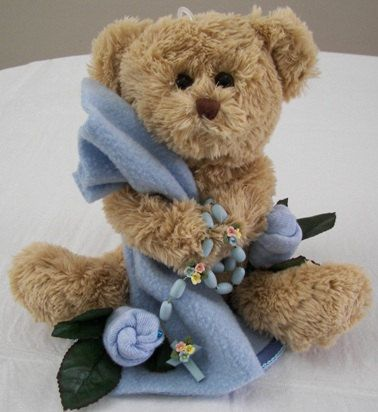 Baptism Table Decorations For Boys  - Teddy Bear Balloon Centerpieces with Porcelain Rosary Beads imported from Italy.