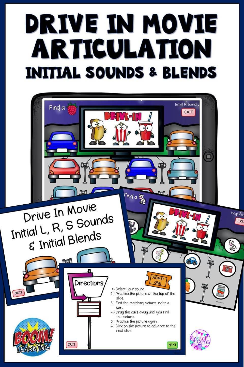 Articulation boom cards initial sounds drive in movie