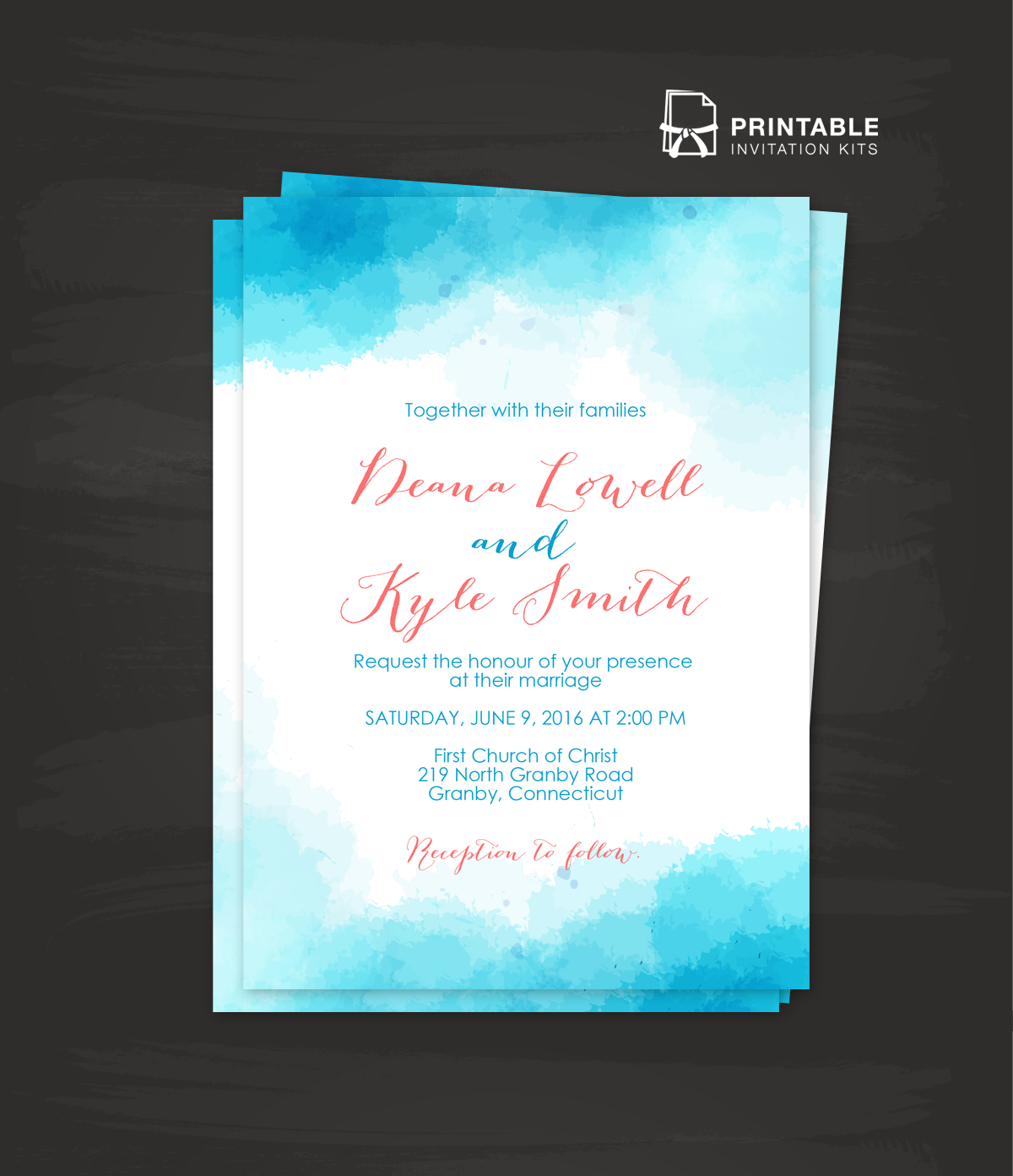 best free photo invitation software%0A Watercolor wedding invitation template in blue