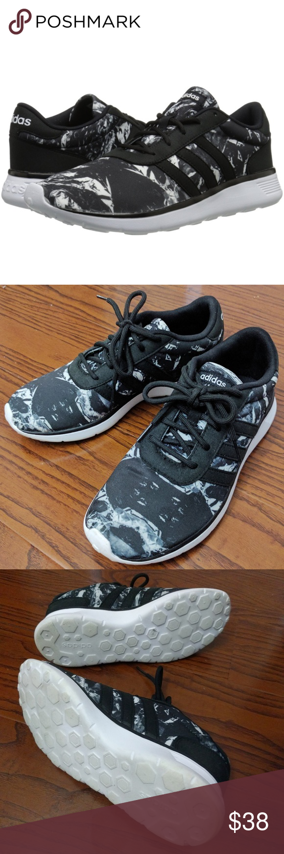 ✨LIKE NEW✨ Authentic Adidas NEO Sneakers Gently worn Adidas lite racer sneakers with black & white printed design. Very lightweight shoes with removable cushioned insole. Great for casual athletic wear and work outs.   The pictures show that the soles and insoles are lightly worn. Other than that there are no other imperfections on the shoes.   No trades. Adidas Shoes