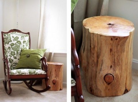 Love The Natural Wood Stump As A Side Table   I Have A Stump In My