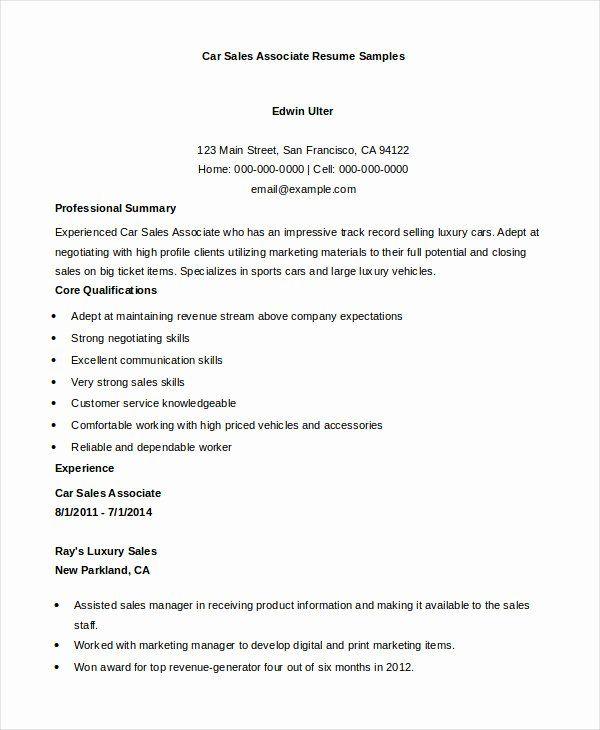 Car Sales Resume Examples Unique 7 Sales Associate Resume Templates Pdf Doc In 2020 Sales Resume Resume Examples Job Resume Examples