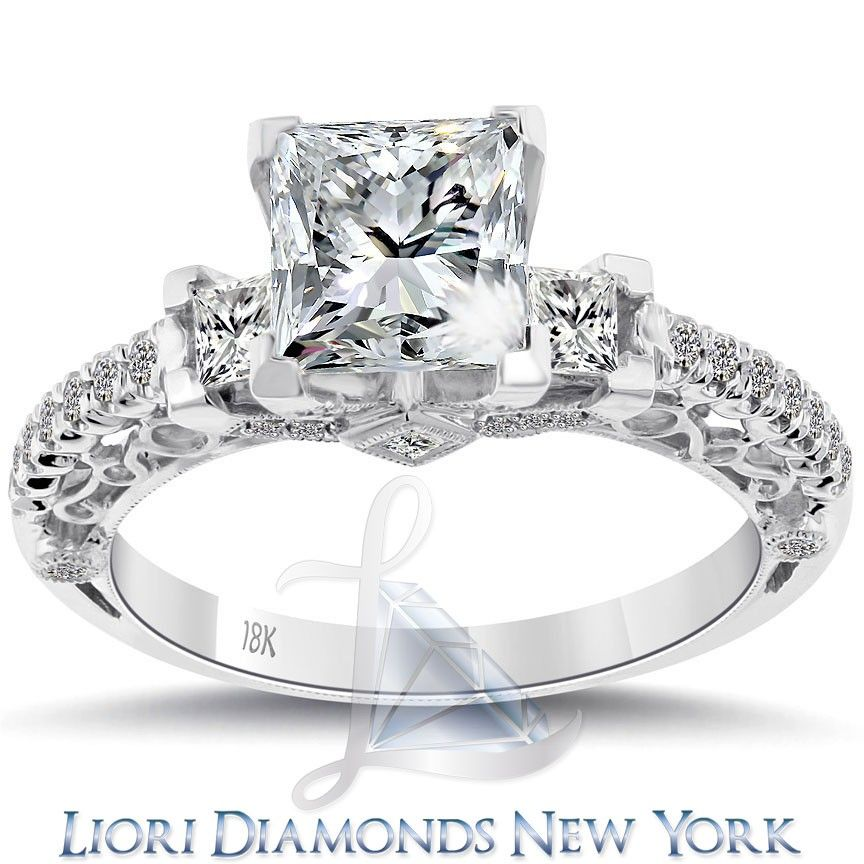 2.48 Carat F-I1 Three Stone Princess Cut Diamond Engagement Ring 18k White Gold  lioridiamonds.com
