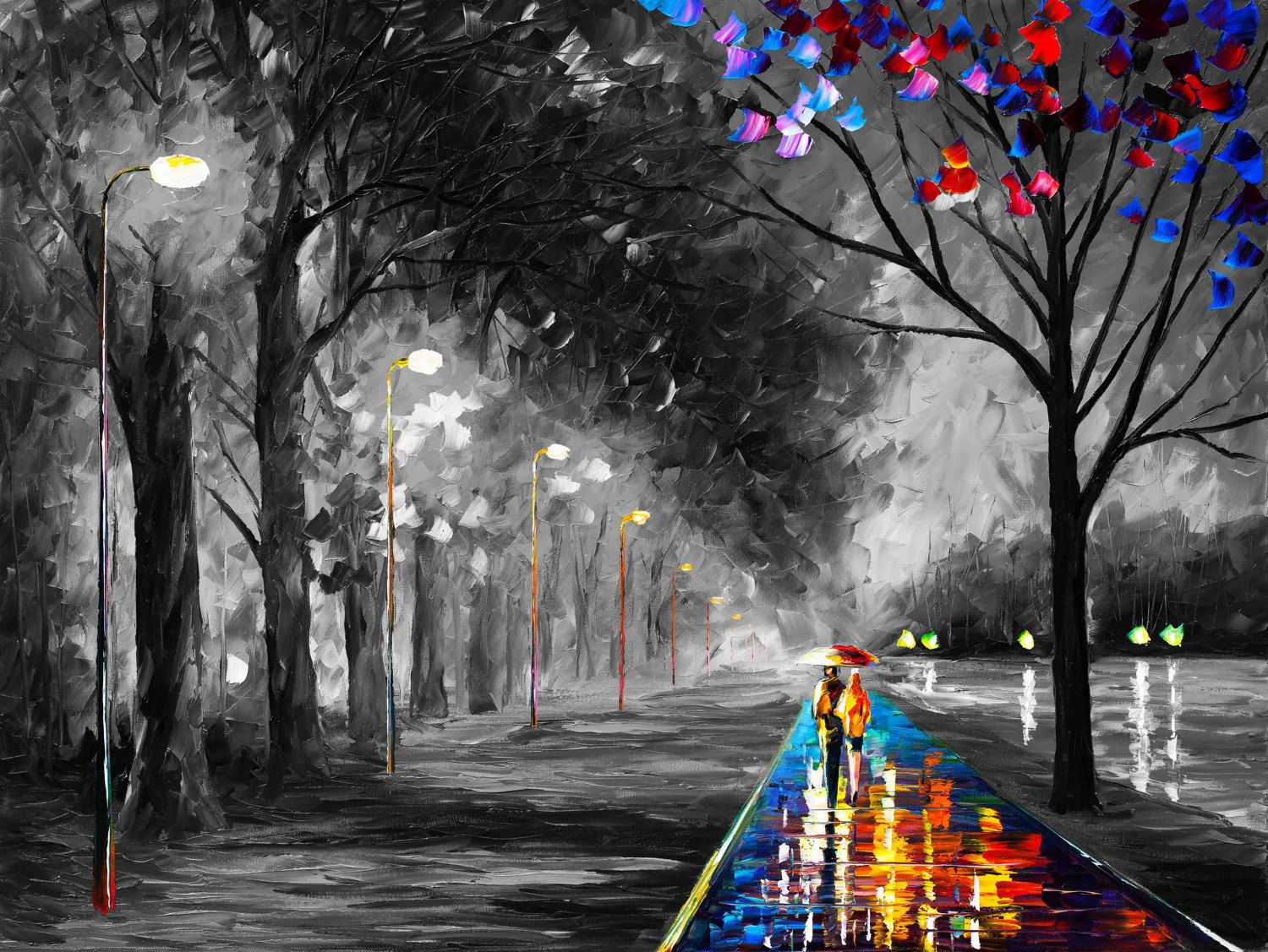 GICLEE ON CANVAS DIRECTLY FROM FAMOUS ARTIST LEONID AFREMOV Title: Alley By The Lake Size: Variable Condition: Excellent Brand new Type: Giclee on cotton canvas This giclee is made in the following process. its a high quality print on cotton canvas. Then the artist takes a brush and adds strokes on top to give the print depth and texture just like the original painting Here you are buying directly from the artist. Signed by the artist, Certificate of Authenticity with the value provided. ...