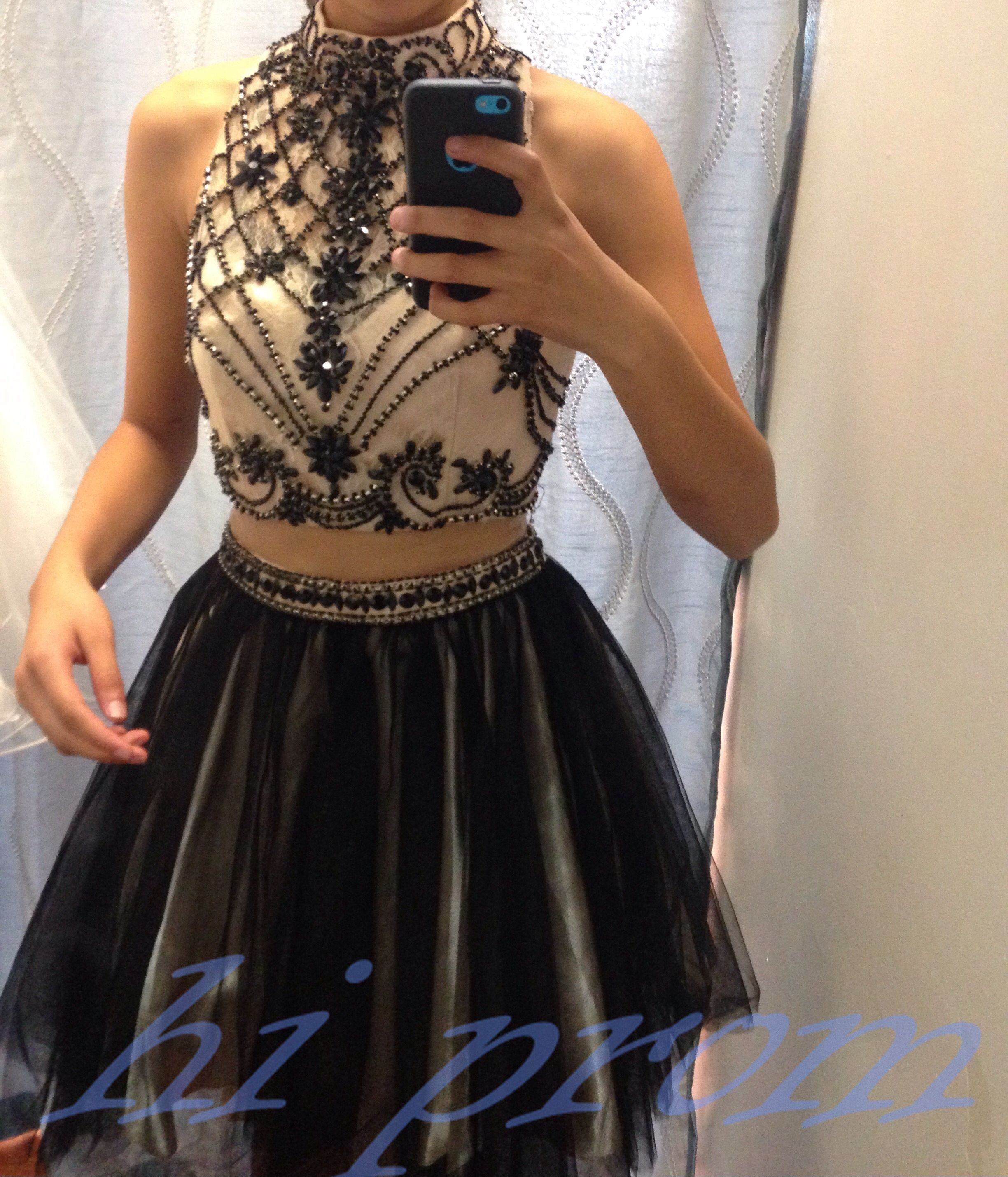 Black Homecoming Dress 2 Piece Homecoming Dresses Black Beading Homecoming Gowns Short Prom Gown Prom Dresses Two Piece Black Homecoming Dress Piece Prom Dress [ 2857 x 2448 Pixel ]