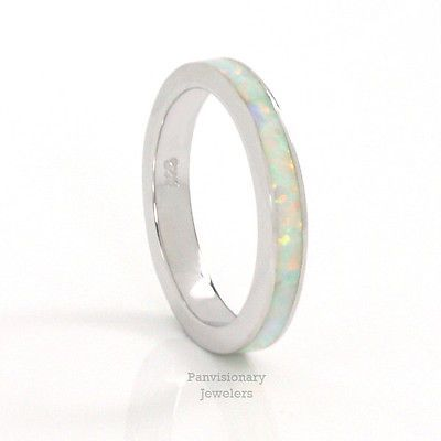 925 Sterling Silver Simulated Violet Opal 3mm Eternity Band Size 5-10