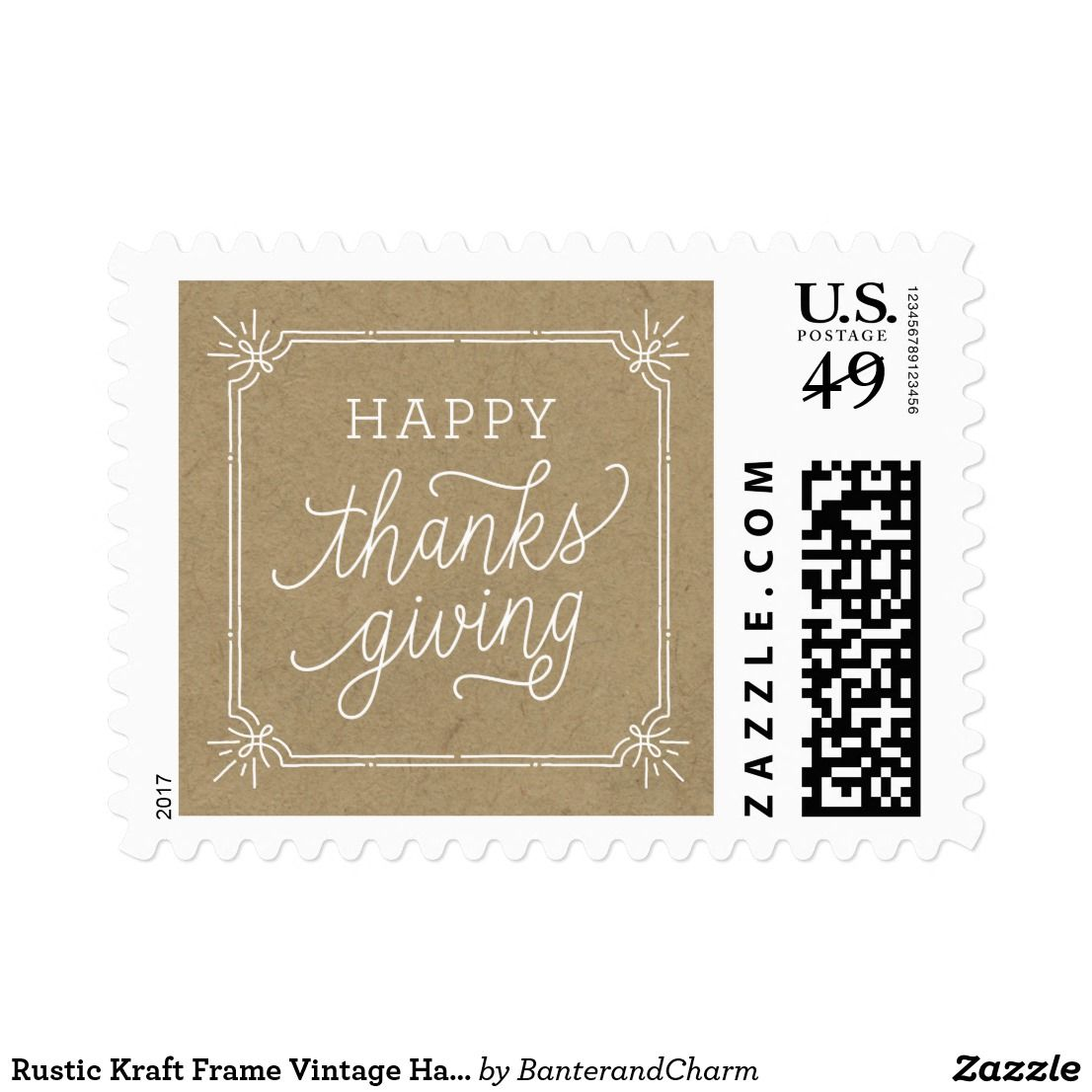 Rustic Kraft Frame Vintage Happy Thanksgiving Postage Put The Final Touches On Your Fall Cards And