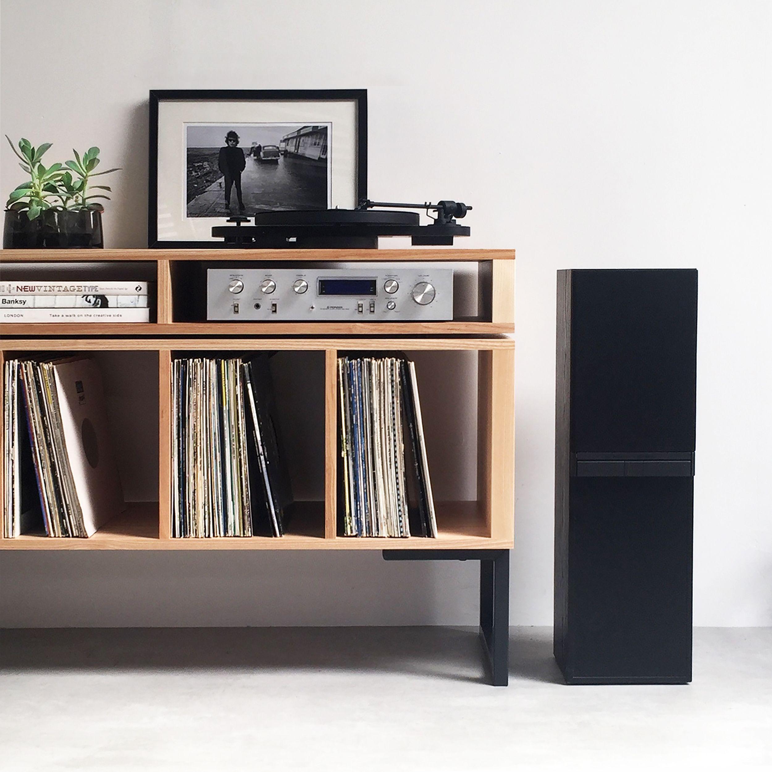 Kelston Record Player Cabinet On Minimalist Square Legs Vinyl Record Furniture Turntable Furniture Record Player Cabinet