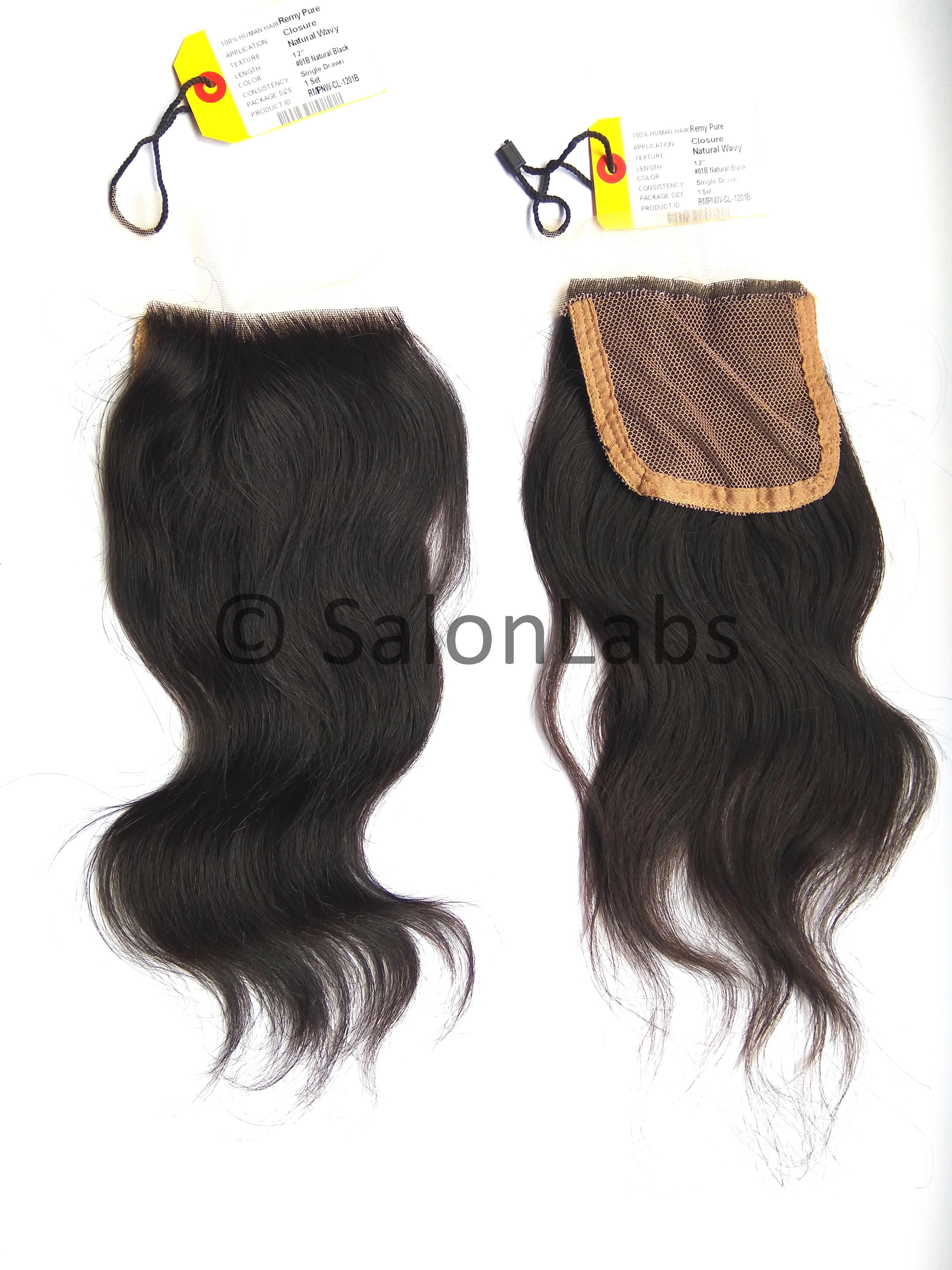 12 Inch Remy Pure Indian Virgin Natural Wavy Closure Hair Extensions