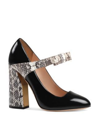 3d5350da42e Gucci Nimue Leather and Snakeskin Block Heel Pumps