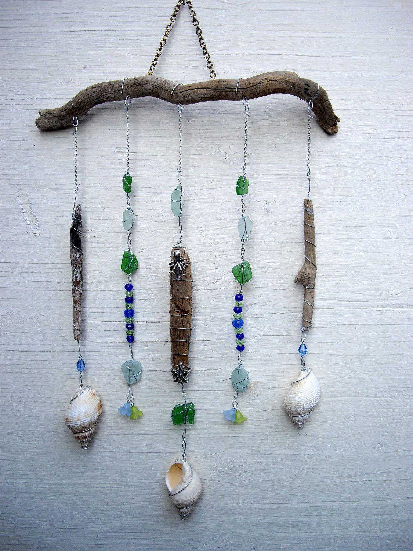 Driftwood Sea Glass stone & Shell hanging mobile Handmade in Cornwall