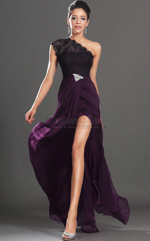 Long one shoulder chiffon grape mermaid bridesmaid dress in purple