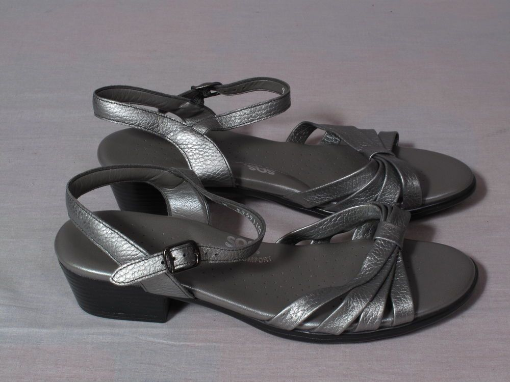 2f38a8258daf Women s SAS TRIPAD Comfort Sandals Gray Size 9 W Leather Strappy Heels 2