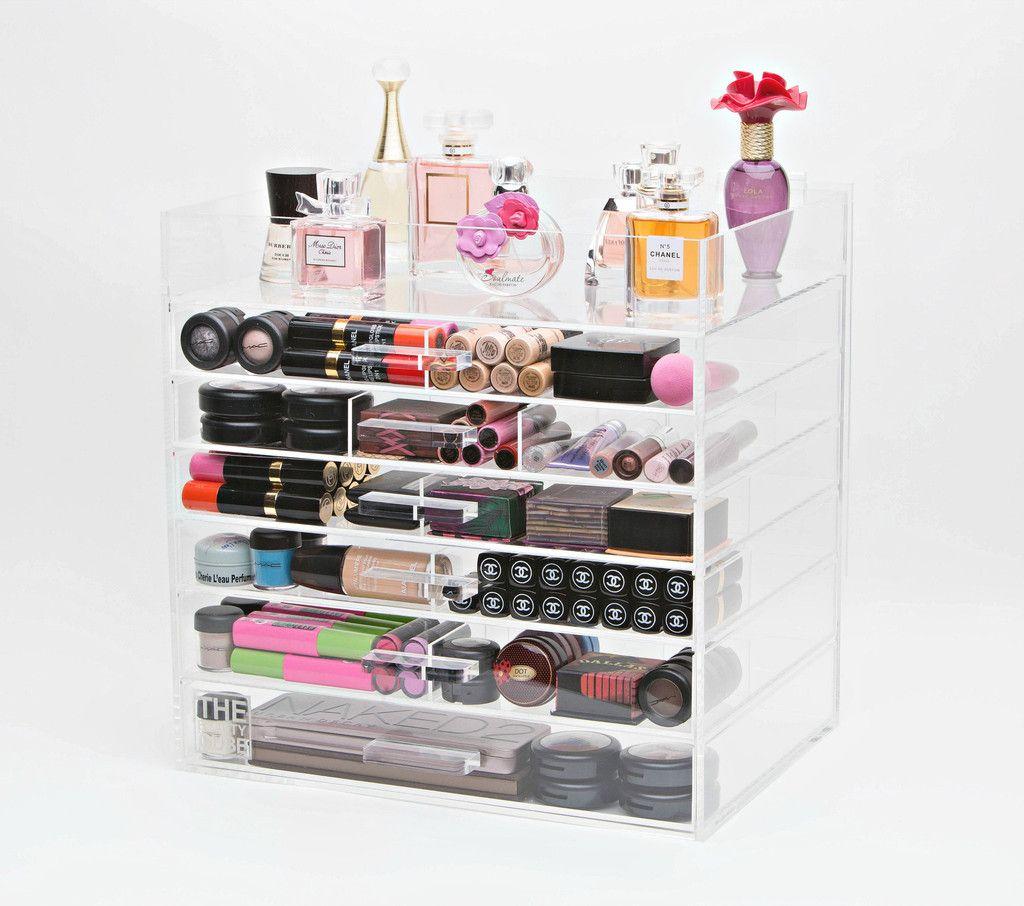 Acrylic Cosmetic/Makeup Organizer 7 Tier Wide with Acrylic Handle & Acrylic Cosmetic/Makeup Organizer 7 Tier Wide with Acrylic Handle ...