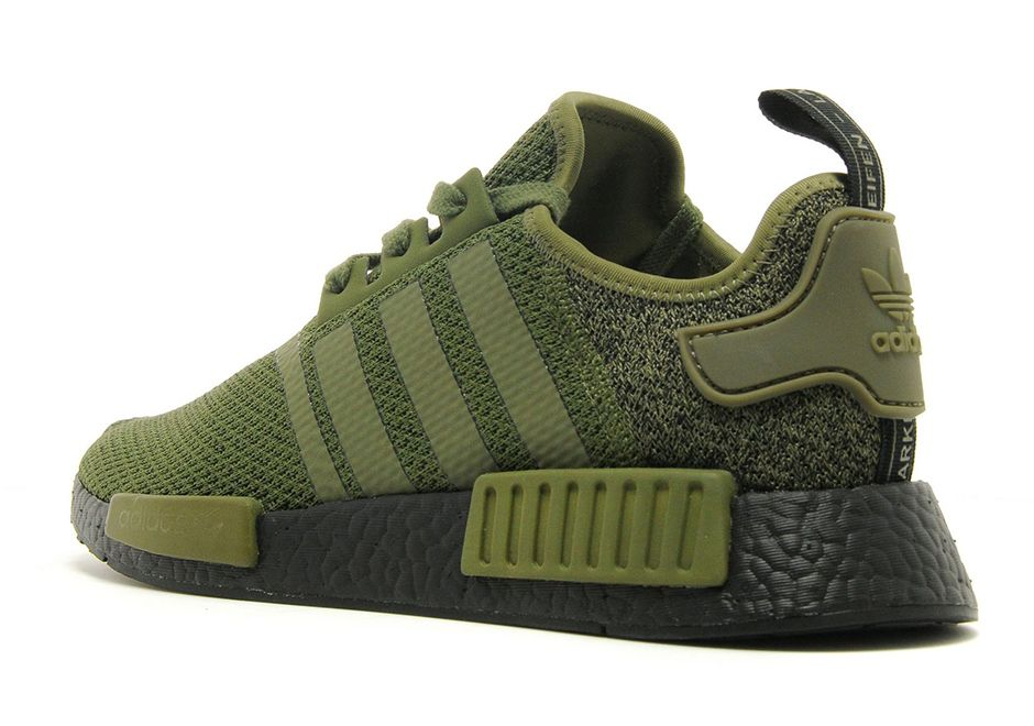 huge selection of b418a 3d1f8 adidas NMD R1 Olive Wool Heel with Black Boost Sole ...