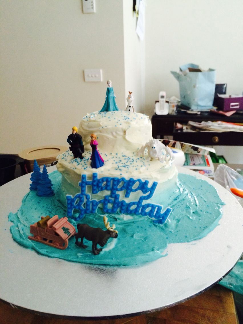 Indiana's 4th Birthday Cake. she loves frozen made and iced in under 2 hours! Oops left to last minute again