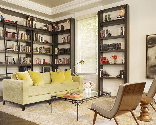 The open backs of the shelves make this a great way to incorporate more color into the room and keep it feeling open.