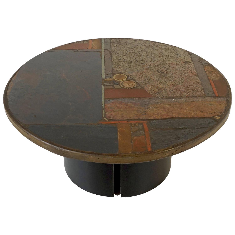 Circular slate coffee table by paul kingma 1967