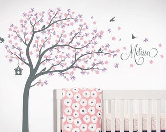 Tree Wall Decal Nursery Large Decals Personalized Names And Birds Whimsical Cherry Blossom Decor Art Sticker