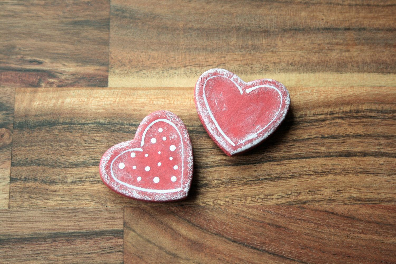 Heart magnets set of 2 made from Salt Dough, Fridge magnets, Office ...
